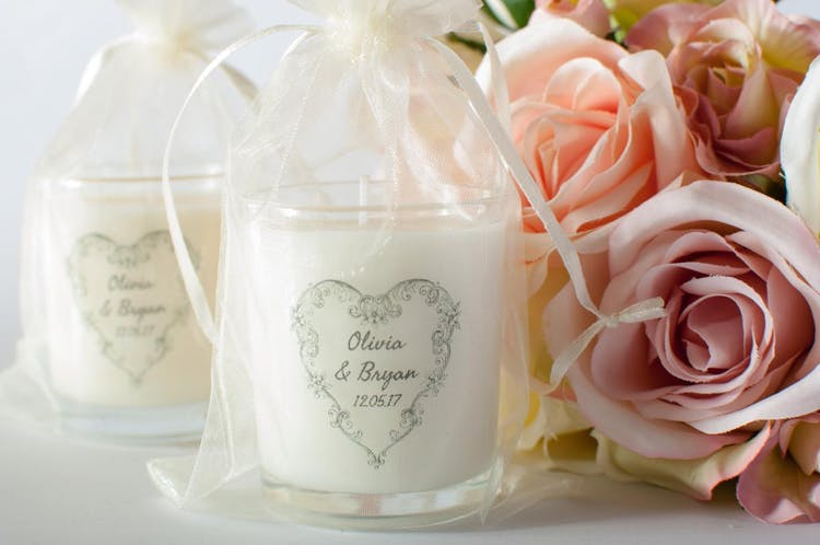 Candle Wedding Favour in Organza Bag