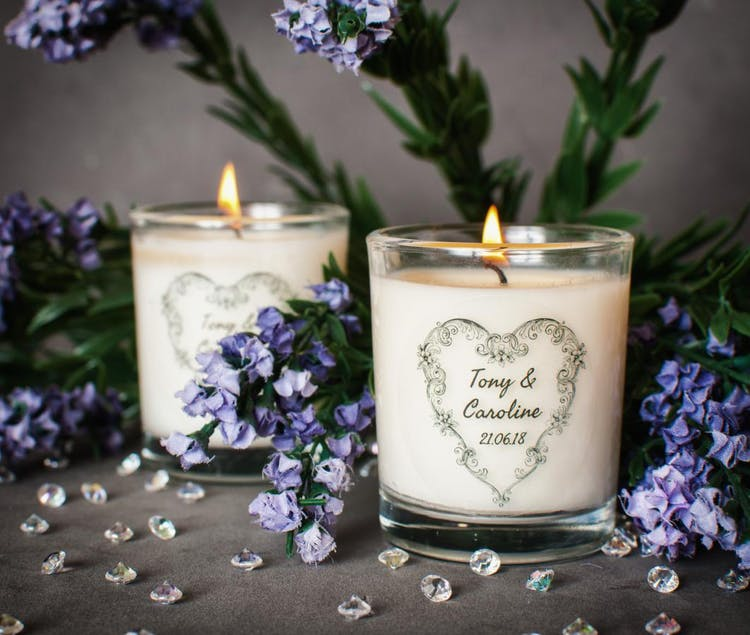 Personalised Scented Wedding Favour Candle