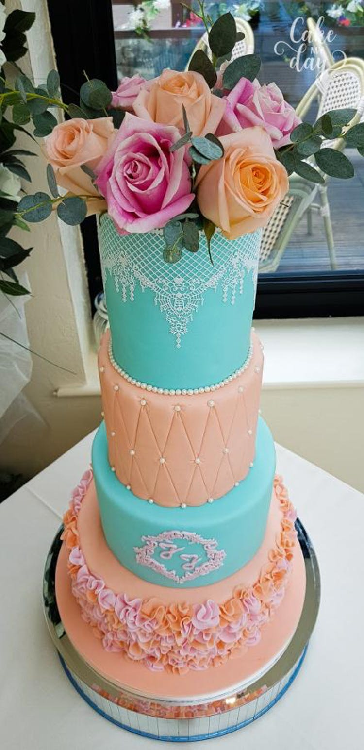 Cake My Day Wedding Cake 4 tiers at The old Barn Inn Newport