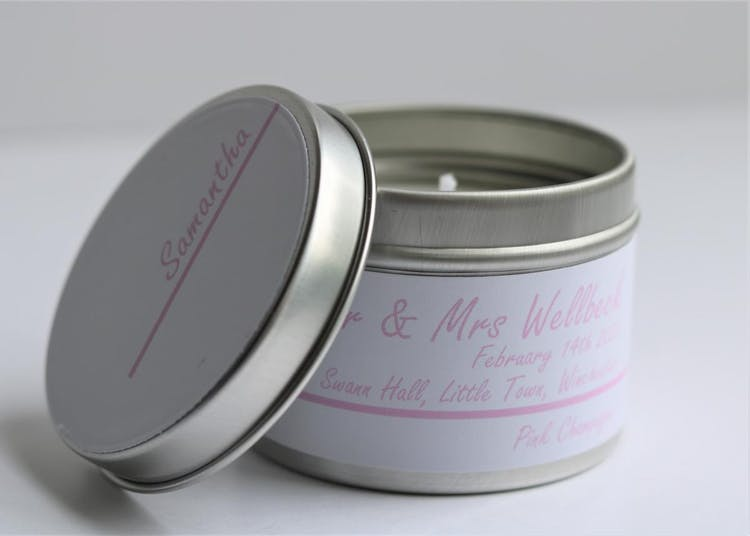 Candle Taster Tin - Guest Name Lid - Pink Champagne