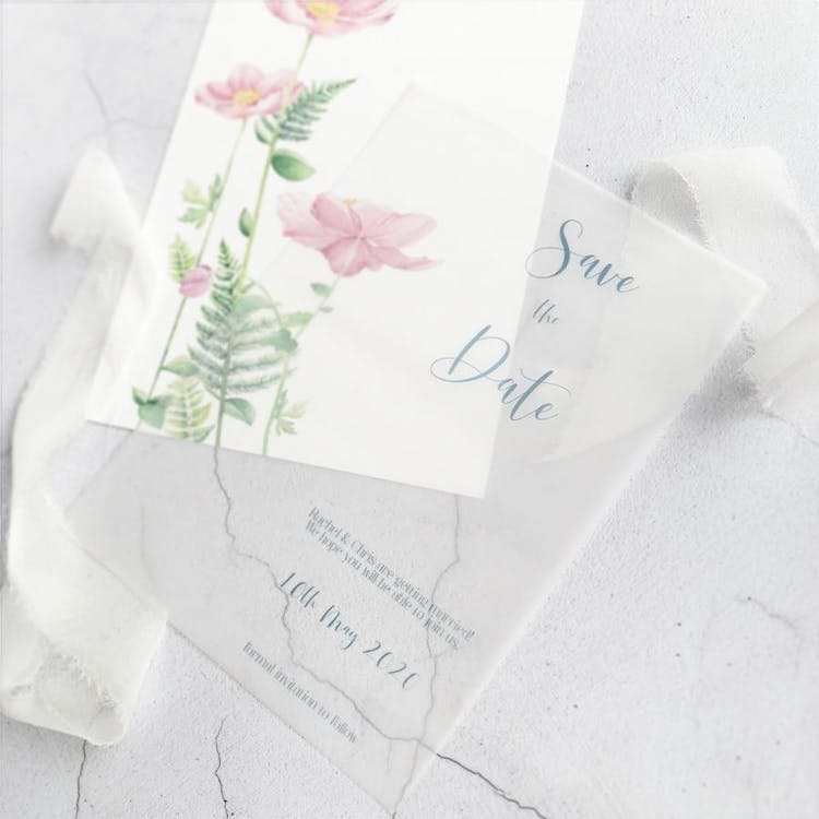 Vellum and Watercolour Save the Date