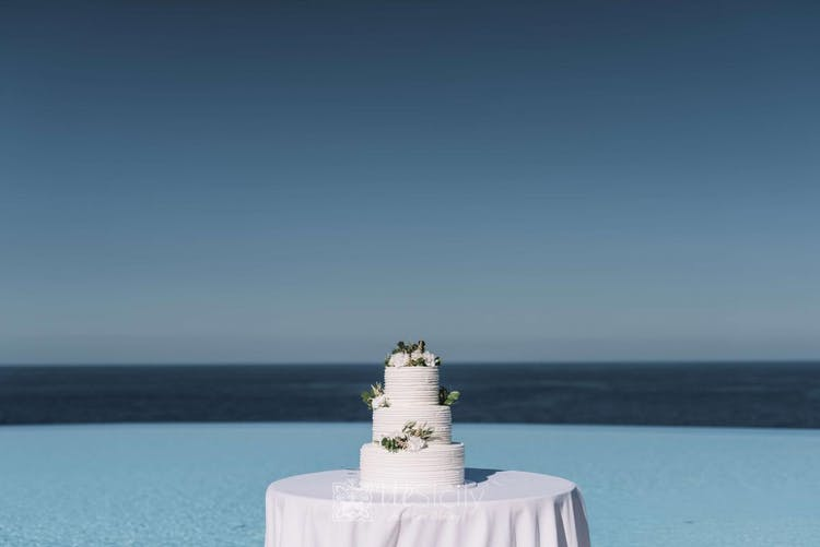 Wedding Cake overlooking the sea