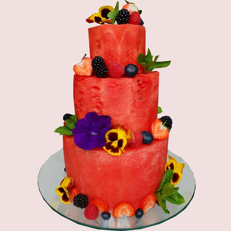 When you want to make a great impression, our watermelon cake holds the recipe for success!  One-of-a-kind that fruit cake is made to order with a variety of carefully selected sweet and juicy fruits such as watermelon, blackberries, blueberries, raspber