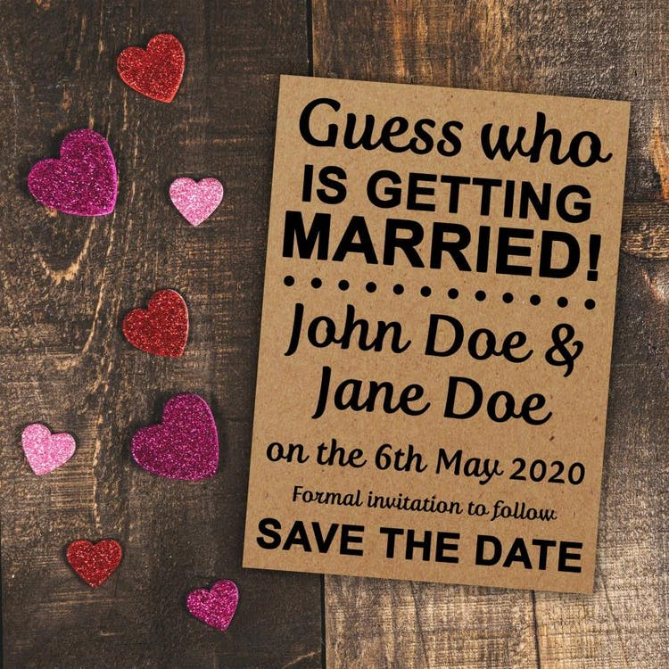 Guess Who Recycled Brown Kraft save the date cards