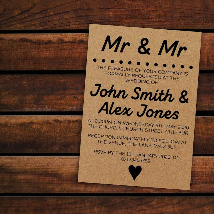 Mr & Mr Recycled Brown Kraft Wedding Invitations - also available in Mr & Mrs and Mrs & Mrs versions.