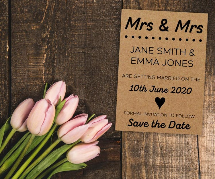 Mrs & Mrs Recycled Brown Kraft Save the Date Cards - also available in Mr & Mrs and Mr & Mr versions.