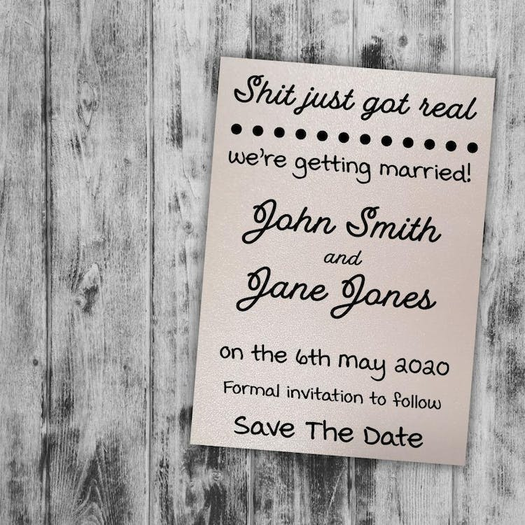 Glittered Pearl Polar funny Shit Just Got Real save the date cards