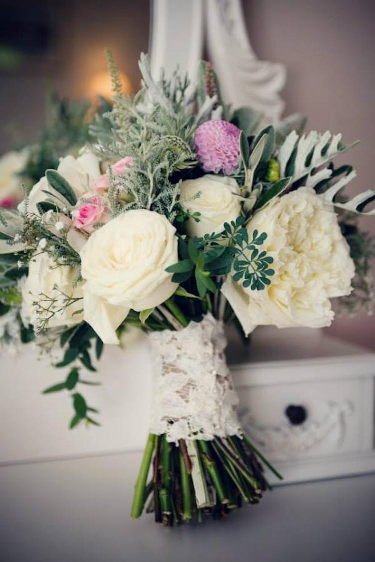 Hand-tied bouquet with David Austin roses