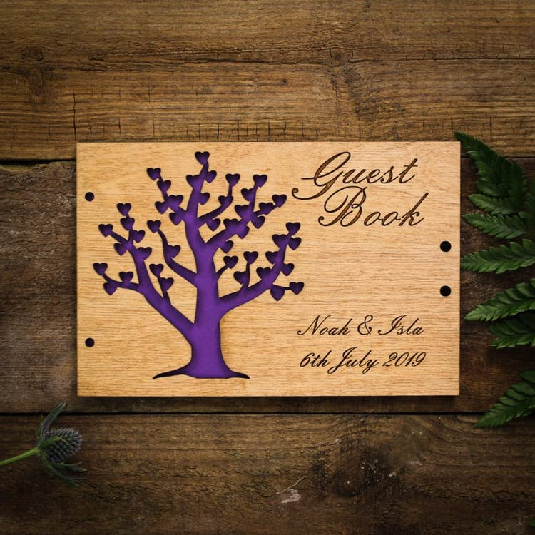 Tree guest book with vivid purple insert card