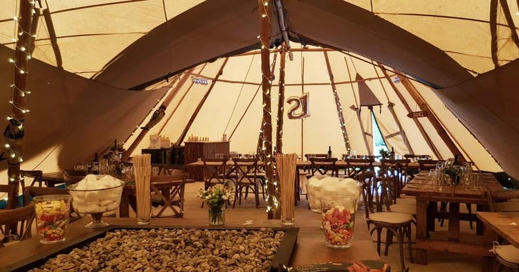 Inside a Tipi Marquee
