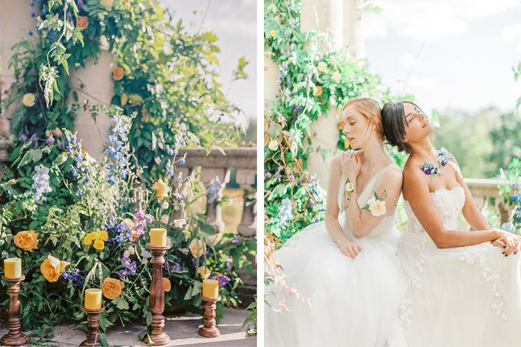 Modern, whimsical London elopement in an English flower garden and pergola.