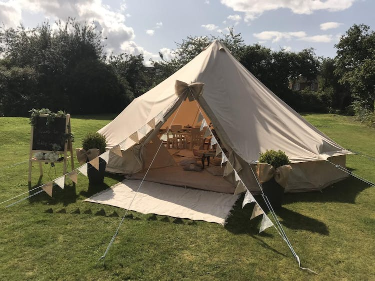 Pop up wedding crèche in our bell tent