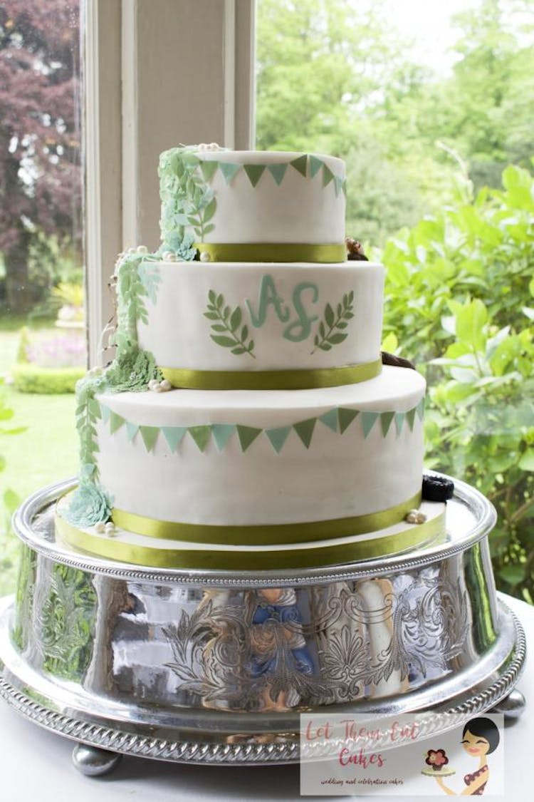 Green Bunting and Monogram wedding cake