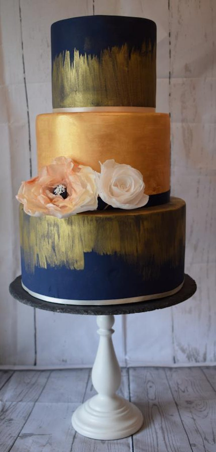 Modern Wedding Cake in Navy and Gold with Wafer flowers