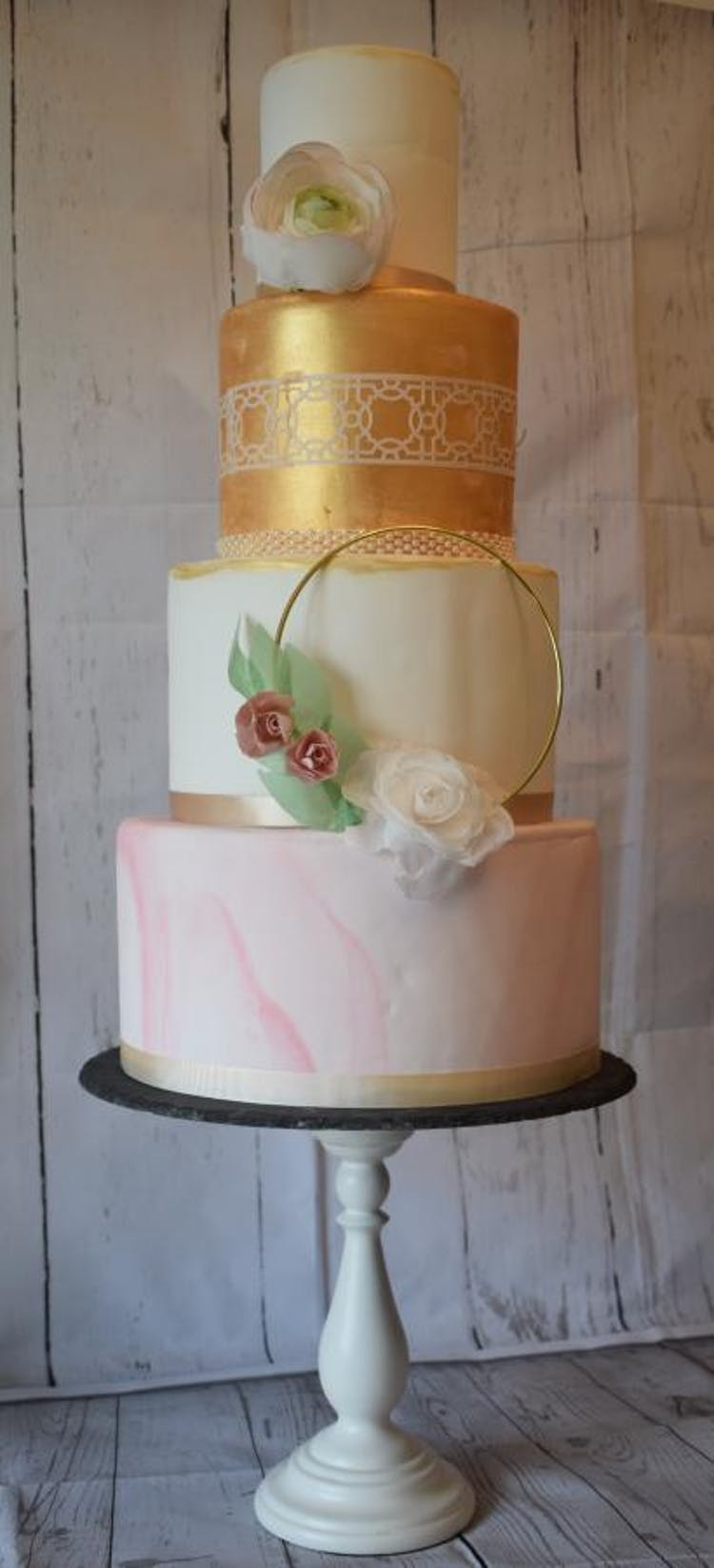 Modern Pink Marble and Gold Tiers Wedding Cake with wafer florals