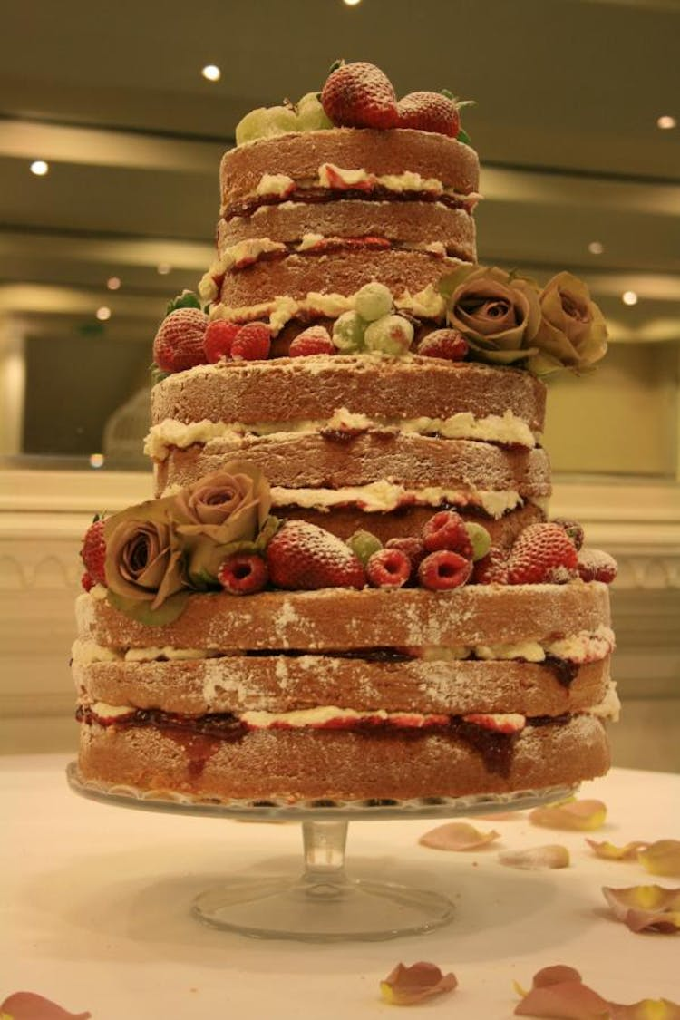 Naked Cake with Fresh Roses