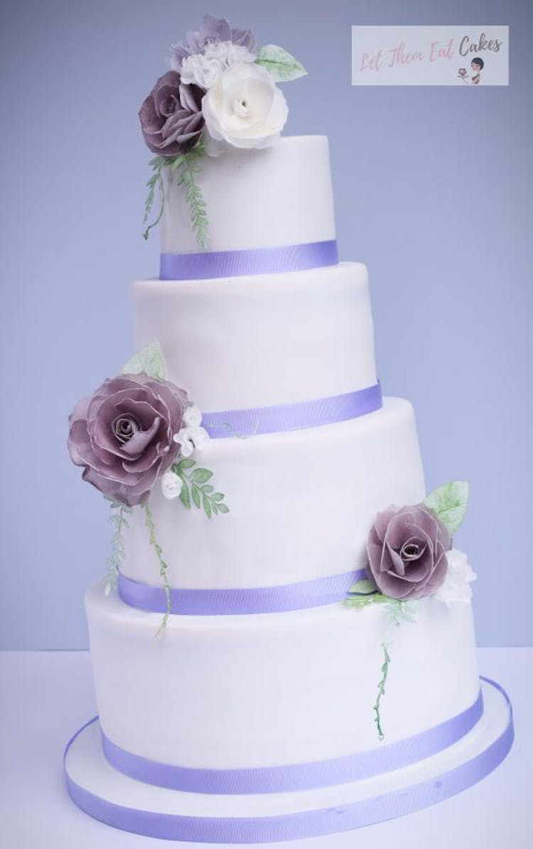 Purple Wedding Cake with Handcrafted Wafer Roses