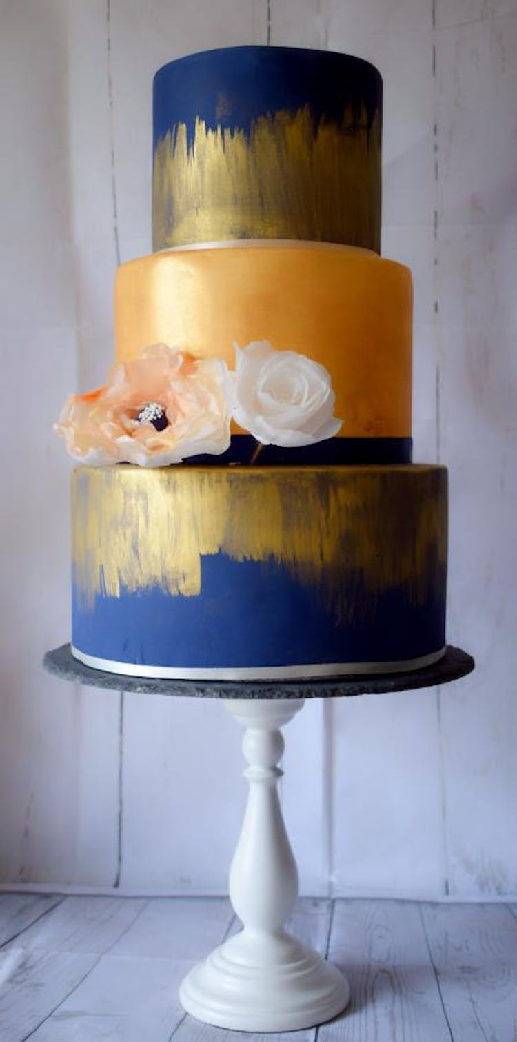 Modern Navy Blue Wedding Cake with Gold