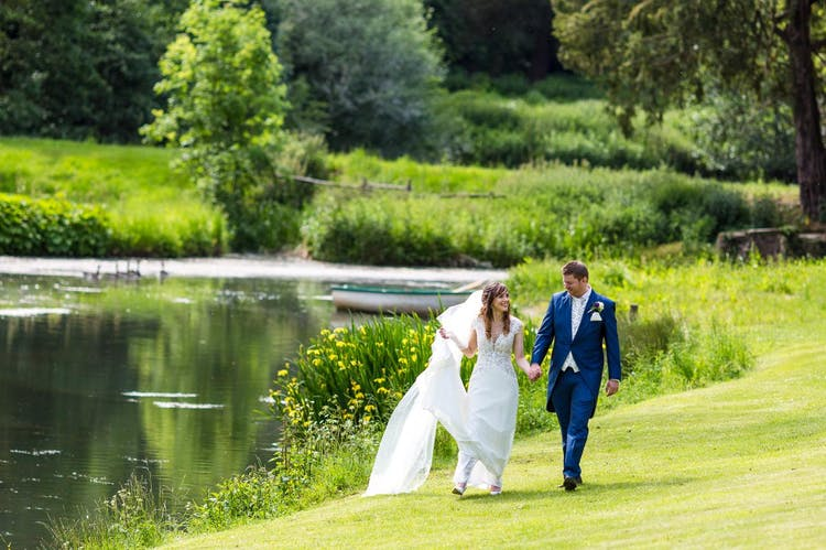 A View of the lake and our Happy Couple at Middle Aston House