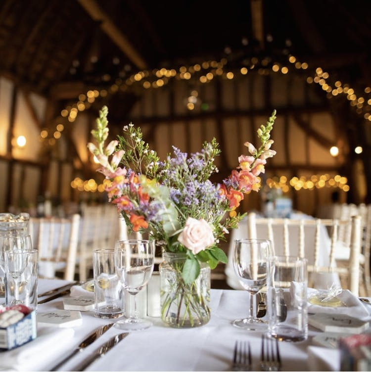 Barn wedding table centrepiece