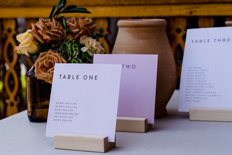 A beautifully designed seating plan