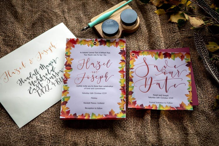 Autumn leaves invitation suite by The Amyverse