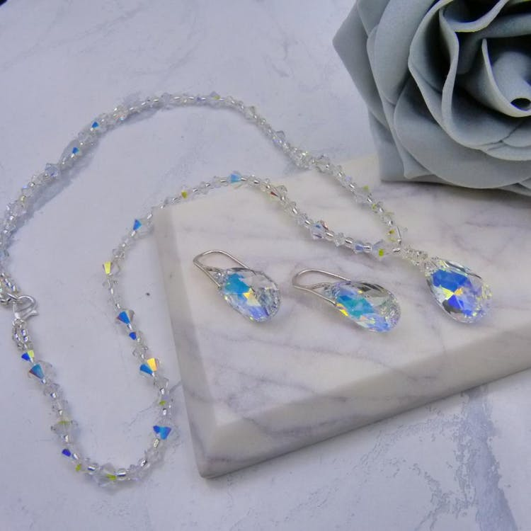 Super Sparkly 2 Piece Bridal Jewellery Set Handmade with Aurora Borealis Crystals from Swarovski® Elements. £93.00