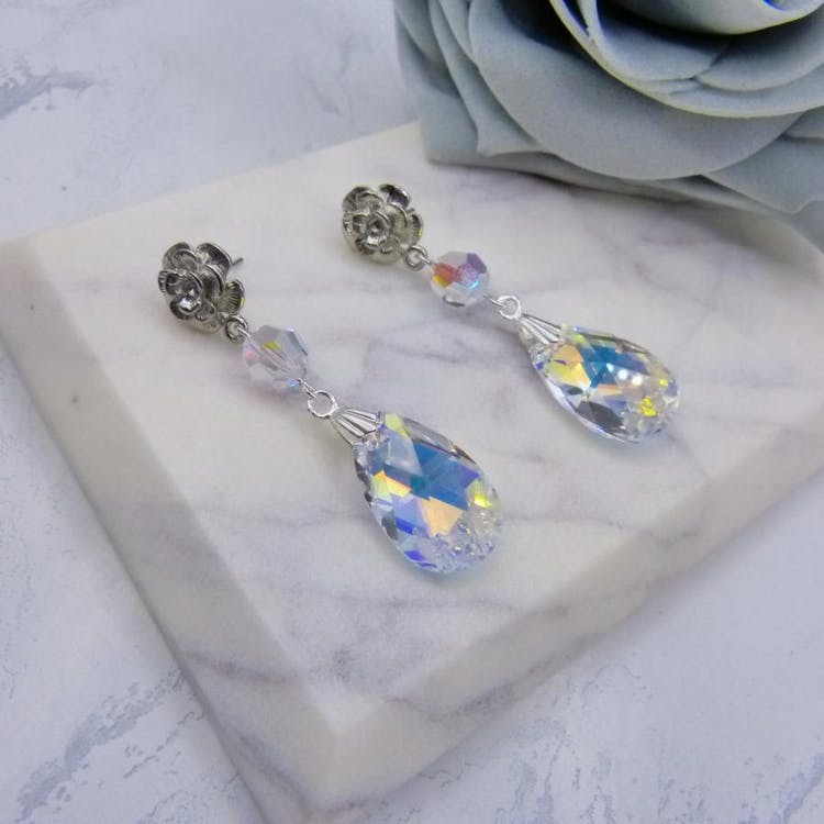 Beautiful Crystal Pear Drop Rose Stud Bridal Earrings, Handmade with 22mm Aurora Borealis Crystal Pear Drops from Swarovski® Elements. £23.00